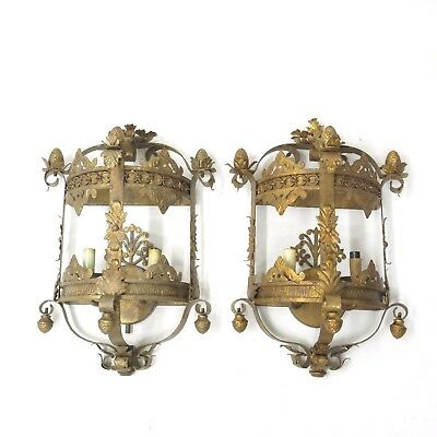 "Pair Currey & Company ""Antique"" Gold Gilt French Tole Shabby Wall Sconce Lamp"