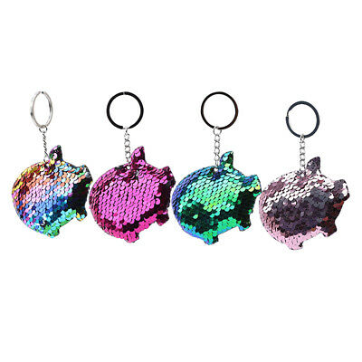 Gifts Cute Pig Keychain Glitter Sequins Key Chain for Women 8C