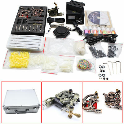 Set Kit Completo De Tatuar 3Nuevo Rotary Maquina Tinta Tattoo Tatuaje Carry Case