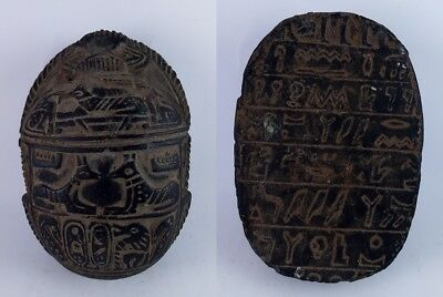 Rare Ancient Egyptian Antique Anubis Scarab 1621-1378 Bc
