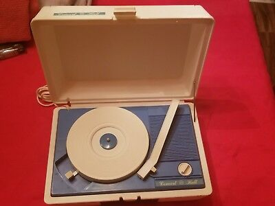 Vintage GE CONCERT HALL Portable Record Player Phono 211 White & Blue 33 / 45