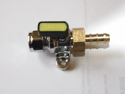 10mm Gas tap foot mounted, 10mm copper pipe to 8mm rubber hose.