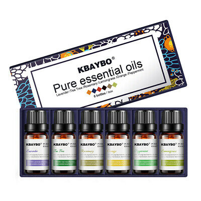 6 Bottles 10ml Pure Essential Oils for Aromatherapy Diffusers Lavender Tea tree