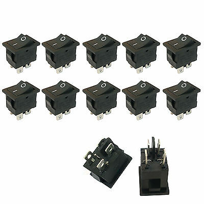 10 pcs 4 Pin On/Off DPST Boat Car Rocker Switch Button 6A Black US Stock