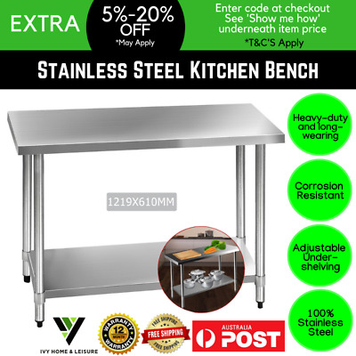 430 Stainless Steel Bench Table Commercial Home Kitchen Work Office Adjustable