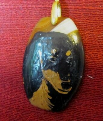 Saluki hand-painted on barrel shaped Onyx Agate pendant/bead/necklace