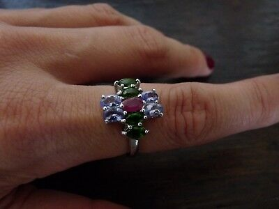 Bague argent rubis tanzanite diopside taille 57