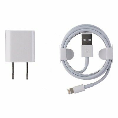 OEM Apple Lightning USB Cable and 5W Wall Adapter MD818ZM/A A1265 A1385 X 8 7 6