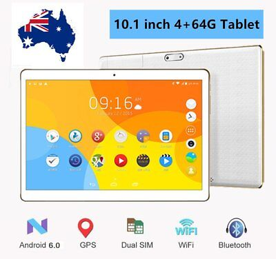 "10.1""Android 6.0 Tablet Octa Core 4+64GB Dual SIM Cards 3G Wifi GPS Bluetooth AC"