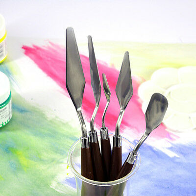 New 5X Stainless Steel Spatula Knif Set Oil Painting Mixing Flexible Blade AU