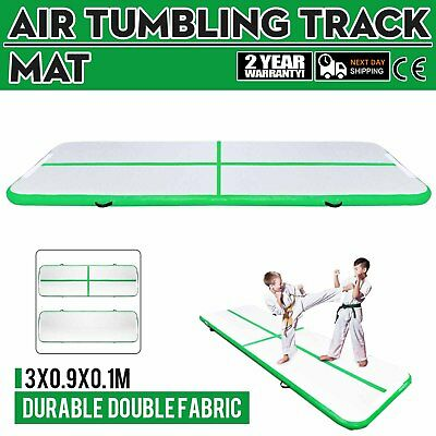 10Ft Air Track Floor Tumbling Inflatable Gym Mat 4in Thick AirTrack Pad Yoga