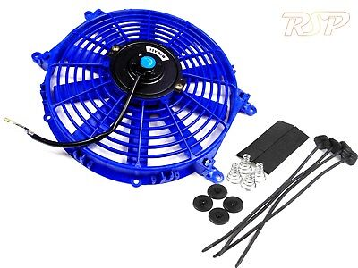 "Blue 12"" Universal Slim Electric Radiator Rad Fan & Fitting Kit 12 Inch 12v"