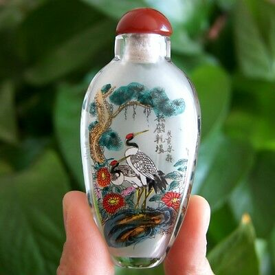 Chinese Collectible Handmade Inside painted pines and ranes Snuff Bottle