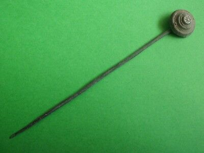 Ancient Celtic Roman Bronze Hair - Dress Pin With Solar Decorations - Rare