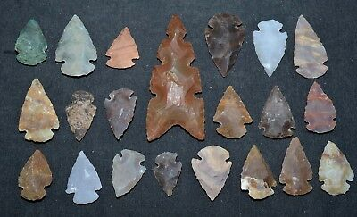 "21 PC Flint Arrowhead Ohio Collection Points 1-3"" Spear Bow Stone Hunting 2536"