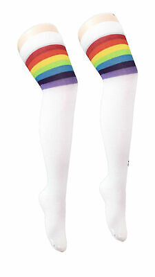 Ladies Referee White and Rainbow Thigh High Girls Stretchy Over the Knee Socks
