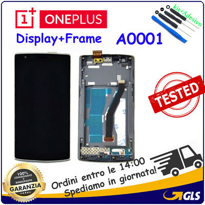 TOUCH Digitizer SCREEN LCD DISPLAY FRAME Per Oneplus One 1 NERO