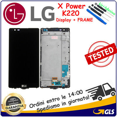 DISPLAY LCD TOUCH SCREEN FRAME per LG X POWER K220 DIGITIZER NERO