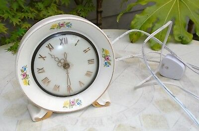 Unusual Vintage SMITHS Floral Ceramic Pottery Electric Mantel Clock. Not Working