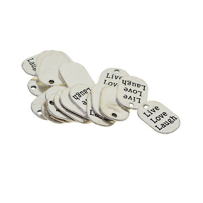 20x Mini Live Love Laugh Tags Pendants Jewelry Charms Findings for Crafting