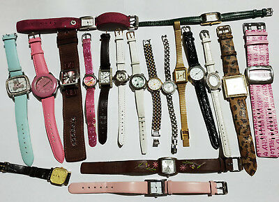 Job lot of 19 mixed bundle quartz watches,all working, free post