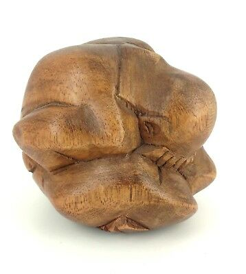 Bali Hand Carved Wood Weeping Budha Crying Man Sculpture Indonesia 3.5""