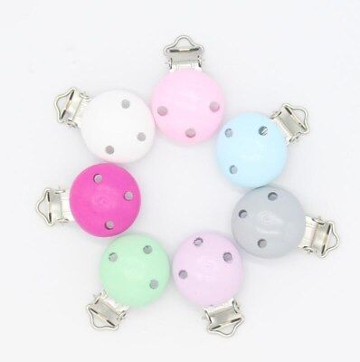 5X Baby Pacifier Clip Safety Wooden Teether Accessories Soother Clasps Holders