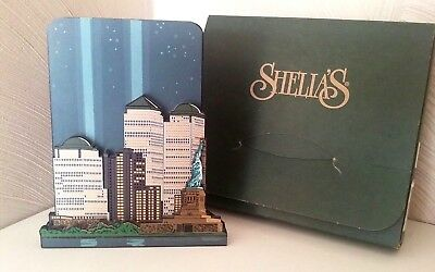 Sheila's COLLETIBLES TWIN TOWERS TRIBUTE IN LIGHT NY MADE USA 9-11 Wood WTC