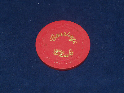 Vintage Carriage Club Clay Advertising Casino Poker Chip