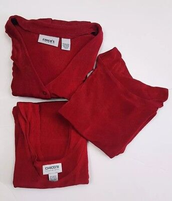 Chicos Travelers 3 Piece Ensemble: Red Slinky Cardigan & 2 Tops Ribbed Size 3