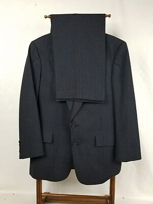 Austin Reed Men's Size 42R Pow Check Gray Vented 100% Pure Wool Suit W34X29.5