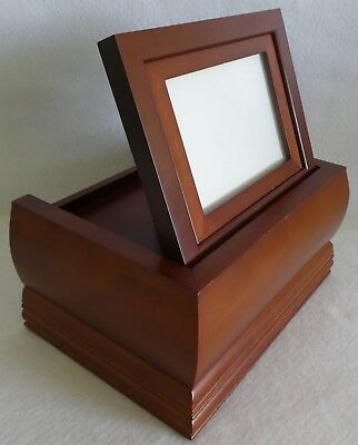 Wood Cremation Urn for Adult or Pet Ashes Cremains UNUSED w Photo Frame