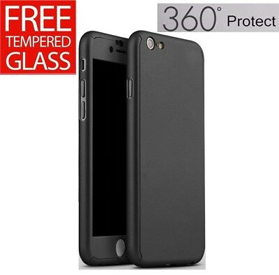 For iPhone 8 Full Body 360° Case Cover + Clear Tempered Glass Screen Protector