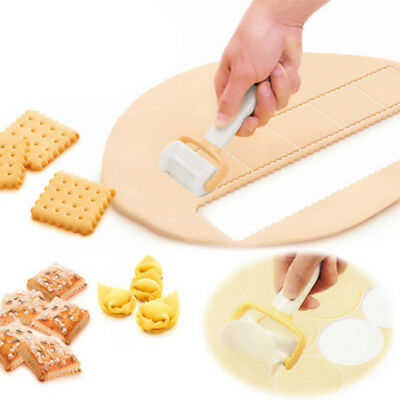 3PCS Rolling Cookie Pastry Dough Cutter Roller Slice Biscuit Cutting Blader JA