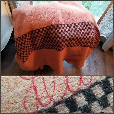 BEAUTIFUL EARLY WOOL HAND-LOOMED BLANKET, CHECKERED PATTERN, EMBROIDERED, 1920's