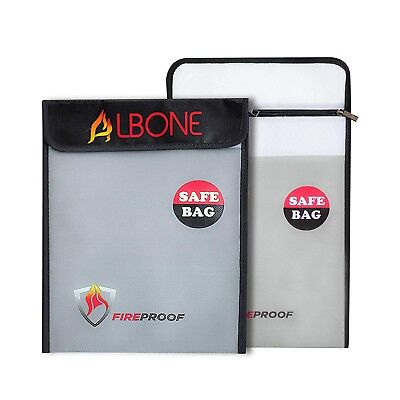 Fireproof Money and Document Bag 15'' x 11'' Fire and Water Resistant l 2 piece