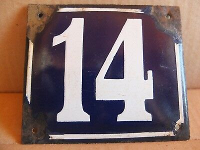 Antique Vintage Enamel Sign Street House Number 14 Sign