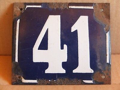 Antique Big Vintage Enamel Sign Street House Number 41 Sign 1950's