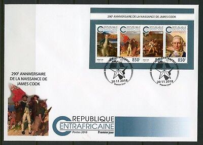 CENTRAL AFRICA 2018 290th BIRTH  OF JAMES COOK SHEET FIRST DAY COVER