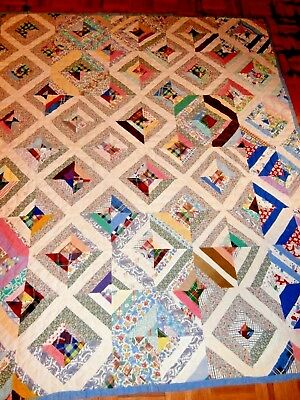 "Vintage Strip Block patchwork quilt 63"" x 73"" pretty fabrics nice condition"