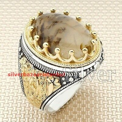 Yemeni Agate Aqeeq Stone Turkish 925 Sterling Silver Mens Ring ALL SİZE US mod 7