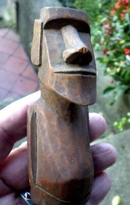 Unuaual Vintage Small Carved Easter Island Head Totem