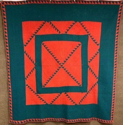 Red Green! c 1880s Delectable Mountains ANTIQUE Quilt Machmer Collection RARE