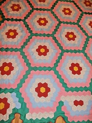 "Vintage Grandmother's Flower Garden quilt top 83"" x 92"" hand stitched, unused"