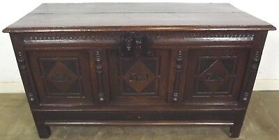 Antique C17th Oak Coffer Blanket Box Trunk with Sprung Lock - Dated 1670