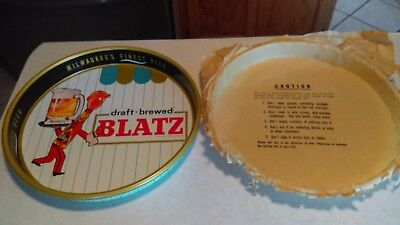 """1964 Blatz Beer Metal 13"""" Serving Tray Mint Never Used Original Paper Over Tray"""