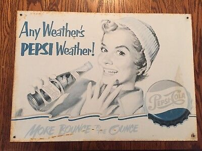 Vintage Pepsi More Bounce To The Ounce Vertical Metal Sign 12 X17