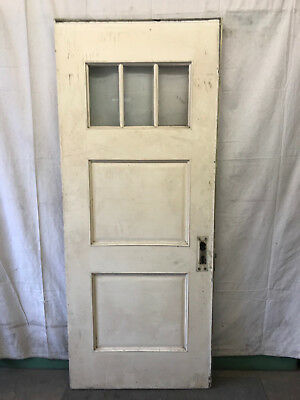 Wood 3 Lite Glass Reclaimed Salvaged Front Door Architectural Vintage 33-1/2x81