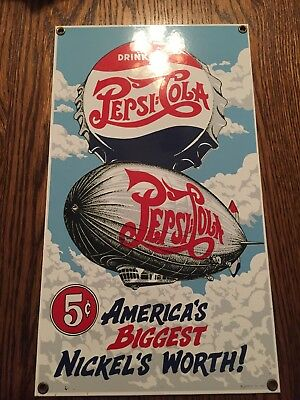 Vintage PEPSI DOUBLE DOT Biggest Nickel's Worth 7 1/2 X 13 in. Metal Sign