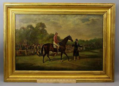 19thC Antique Oil Painting, Thoroughbred Horse & Jockey Racehorse Steeplechase